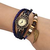 아가씨들 패션 시계 팔찌 시계 석영 PU 밴드 빈티지 보헤미안 블랙 블루 레드 오렌지 그린 상표
