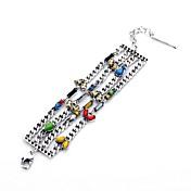 Elegantes 24cm coloridas Pequeño Bud Adorna multicapas plateadas plata Pulseras de aleación (1 PC)