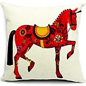 선명한 붉은 말 코튼 / 린넨 장식 베개 커버