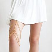 여성 바디 쥬얼리 바디 체인 / 배꼽 체인 합금 유니크 디자인 패션 보석류 골드 실버 보석류 파티 1PC