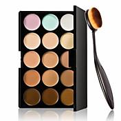 15 가지 색상 윤곽 얼굴 크림 메이크업 컨실러 팔레트 + 타원형 메이크업 브러쉬 파운데이션 크림 도구