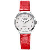 Mujer Reloj de Moda Reloj Casual Cuarzo Resistente al Agua Piel Banda Flor Negro Blanco Rojo Marrón Rosa