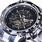 WINNER Hombre Reloj de Pulsera El reloj mecánico Huecograbado Cuerda Automática Acero Inoxidable Banda De Lujo Plata