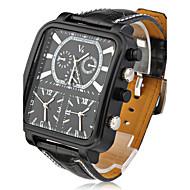 V6 Herren Militäruhr Armbanduhr Quartz Japanischer Quartz Drei-Zeit-Zonen PU Band Schwarz Schwarz Silber