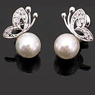 Dames Oorknopjes Basisontwerp Modieus leuke Style Kostuum juwelen Parel Legering Dierenvorm Vlinder Sieraden Voor Feest Dagelijks Causaal