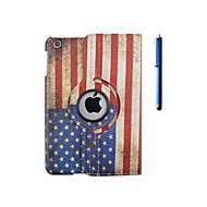 360 asteen kierto lipun kuvio pu nahkakotelo jalustalla ja kynä iPad 2/3/4
