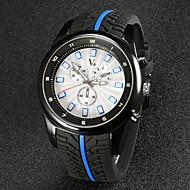 V6 Herren Armbanduhr Quartz Japanischer Quartz Caucho Band Schwarz Schwarz Rot Blau