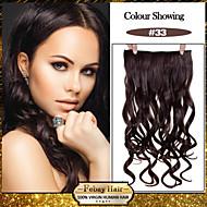 5 klipp bølget mørkt krøllet (# 33) syntetisk hår klippet i hair extensions for damer flere farger