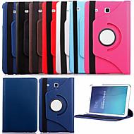 Voor Samsung Galaxy hoesje met standaard / Flip / 360° rotatie hoesje Volledige behuizing hoesje Effen kleur PU-leer Samsung Tab E 9.6