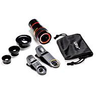 universal 5 i ett fall clip 0.65x vidvinkel& 180 ° fish eye& 8 gånger teleskop lins in för mobiltelefon& digitala kameror