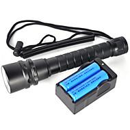 2 LED taskulamput Sukellusvalot LED 6000 Lumenia 2 Tila Cree XM-L2 Kyllä Iskunkestävä Ladattava Vedenkestävä Isku viiste Taktinen Hätä