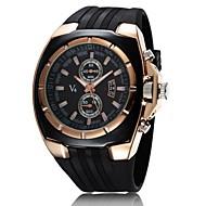 V6 Herren Militäruhr Armbanduhr Quartz Japanischer Quartz Caucho Band Schwarz Weiß Schwarz