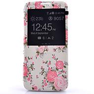 Varten Samsung Galaxy S7 Edge Ikkunalla / Flip Etui Kokonaan peittävä Etui Kukka Tekonahka Samsung S7 plus / S7 edge / S7