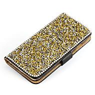 Para Samsung Galaxy Capinhas Com Strass / Com Suporte / Flip Capinha Corpo Inteiro Capinha Brilho com Glitter Couro PU SamsungS7 edge /