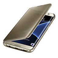 Για Samsung Galaxy S7 Edge Αυτόματη αδράνεια/αφύπνιση Επιμεταλλωμένη Καθρέφτης Ανοιγόμενη Διαφανής tok Πλήρης κάλυψη tok Μονόχρωμη PC για
