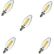 5 kpl e14 2w 220lm lämmin / viileä valkoinen 360 asteen edison hehkulamppu valo led kynttilän lamppu (220v)