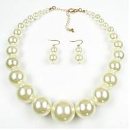 Női Ékszer készlet Gyöngy Európai Gyöngy 1 Nyaklánc 1 Pár fülbevaló Kompatibilitás Napi Esküvői ajándékok