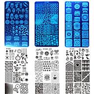 10st / set nieuwe afbeelding kleurrijk ontwerp zoete nagel roestvrij staal stampen plaat Mode stamping stencils manicure hulpmiddel nagel
