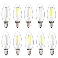 2W LED Λάμπες Πυράκτωσης C35 2 COB 200 lm Θερμό Λευκό Άσπρο Διακοσμητικό AC 220-240 V 10 τμχ