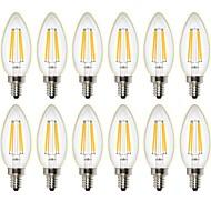 4W LED Λάμπες Πυράκτωσης C35 4 COB 400 lm Θερμό Λευκό Με ροοστάτη Διακοσμητικό AC 220-240 AC 110-130 V 12 τμχ