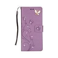 kotelon kannen kortin haltija lompakko tekojalokivi, jossa seisontatuula magneettinen kohokuvioitu koko kehon kotelo perhonen kova