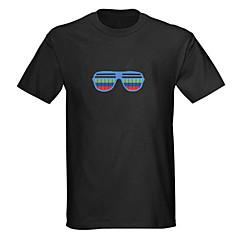 LED T-shirts Door Geluid Geactiveerde LED Lampen Textiel Cartoon 2 AAA Batterijen