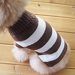 Katte Hunde Bluser Brun Hundetøj Vinter Stribet Mode Hold Varm