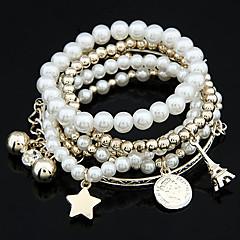 Kadın's Tılsım Bileklikler Wrap Bilezikler Eşsiz Tasarım Arkadaşlık Moda kostüm takısı İnci alaşım Star Shape Mücevher Kule Top Mücevher