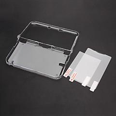 Clear Crystal Case Cover met Top + Bottom LCD Screen Protector voor Nintendo 3DS XL