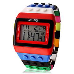 Dame Modeur Ur Træ Digital Watch Digital LCD Kalender Kronograf alarm Plastik Bånd Slik Sej Mangefarvet