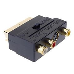 SCART naar Composite 3 RCA S-Video AV TV Audio Adapter