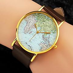 Mulheres Relógio de Moda Relógio de Pulso Quartzo Padrão Mapa do Mundo PU Banda Preta Branco Marrom