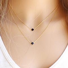 Női Nyaklánc medálok Rakott nyakláncok Kristály Drágakő Természetes fekete Round Shape Drágakő Kristály Arannyal töltött Alap Divat