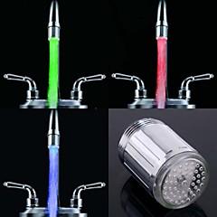 세련 된 물 스트림 다채로운 빛나는 빛 수도꼭지 빛을 주도 (플라스틱, 크롬 마무리)