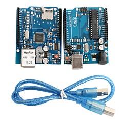 uno r3 aluksella moduuli + ethernet shield W5100 moduuli Arduino