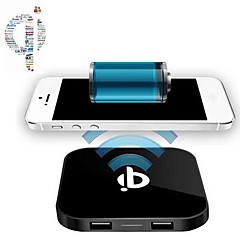 dc 5v qi langattoman latauksen pad laturi ja 2 USB 5V portti Samsung Galaxy S5 / S4 / S3 / HTC LG ja muut