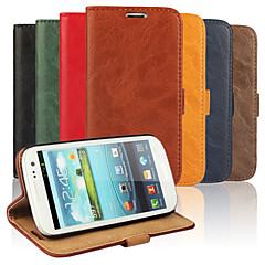 Mert Samsung Galaxy tok Pénztárca / Kártyatartó / Állvánnyal / Flip Case Teljes védelem Case Egyszínű Műbőr Samsung S3