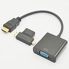3-I-1 Hdmi Hun Til Mini Hdmi Mandlige Og Til Mikro Hdmi Mandlige Adapter + Hdmi V1.3 Til Vga M / F Kabel