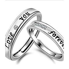 Női Páros gyűrűk Karikagyűrűk Szerelem Menyasszonyi Ezüst Kristály Strassz Circle Shape Ékszerek Ékszerek Kompatibilitás Esküvő Napi