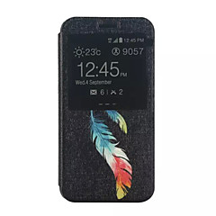 Varten Samsung Galaxy kotelo Tuella / Ikkunalla / Flip / Kuvio Etui Kokonaan peittävä Etui Höyhen Tekonahka Samsung Xcover 3 / J5