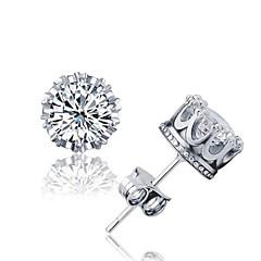 Heren Dames Oorknopjes Kristal Zirkonia Basisontwerp Modieus Eenvoudige Stijl Kostuum juwelen Sterling zilver Kristal Zirkonia Kubieke