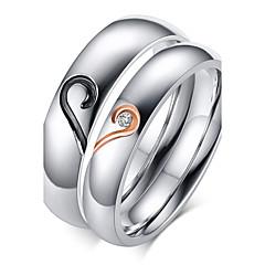 Női Páros gyűrűk Karikagyűrűk Szerelem Születési kövek Cirkonium Titanium Acél Arannyal bevont Heart Shape Ékszerek Kompatibilitás Esküvő