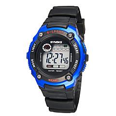 Kadın's Quartz Japon Kuvartz alarm Kronometre Gece Parlayan PU Bant Mavi Gümüş Kırmızı