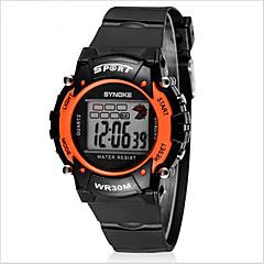 SYNOKE Børn Sportsur Armbåndsur Digital LCD Kalender Kronograf Vandafvisende alarm Selvlysende Gummi Bånd Sort