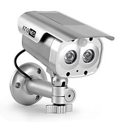 kingneo 305S ulkoilma / sisätila aurinkoenergialla nuken turvallisuus kamera simuloitu valvonta kamera salamalla johti 1kpl hopea