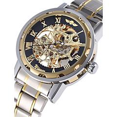WINNER Heren Polshorloge mechanische horloges Automatisch opwindmechanisme Hol Gegraveerd Roestvrij staal Band Luxueus Zilver Gouden