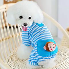 고양이 강아지 점프 수트 파자마 강아지 의류 귀여운 캐쥬얼/데일리 만화 옐로우 블루 핑크