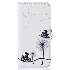 For iPhone 7 etui / iPhone 6 etui / iPhone 5 etui Pung / Kortholder / Med stativ / Flip / Præget Etui Heldækkende Etui Mælkebøtte Hårdt