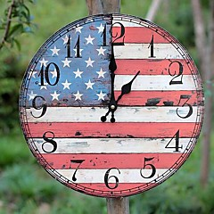 현대/현대 / 국가 / 캐주얼 가족 벽 시계,라운드 우드 35*35*5 실내/야외 / 실내 / 야외 시계