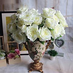 1 1 Κλαδί Πολυεστέρας / Πλαστικό Τριαντάφυλλα Λουλούδι για Τραπέζι Ψεύτικα λουλούδια 22*5.1inch/56*13cm